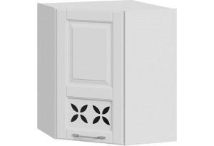 Шкаф навесной угловой c углом 45 с декором (СКАЙ (Белоснежный софт))