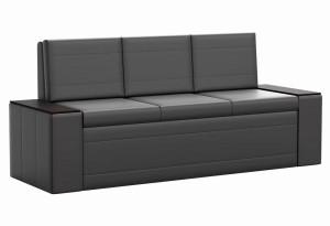 Кухонный прямой диван Лина Черный (Экокожа)