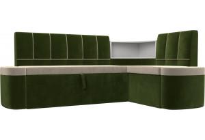 Кухонный угловой диван Тефида бежевый/зеленый (Микровельвет)