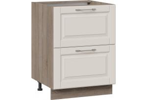 Шкаф напольный с 2-мя ящиками (СКАЙ (Бежевый софт))