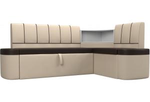 Кухонный угловой диван Тефида Коричневый/Бежевый (Экокожа)