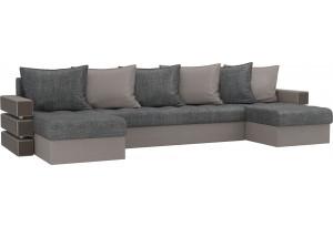 П-образный диван Венеция серый/бежевый (Рогожка)