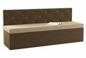 Кухонный прямой диван Салвадор бежевый/коричневый (Микровельвет)