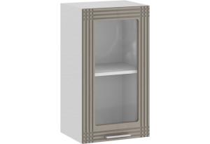 Шкаф навесной c одной дверью со стеклом «Ольга» (Белый/Кремовый)
