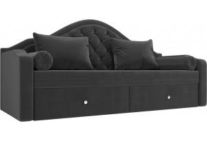 Прямой диван софа Сойер Серый (Велюр)