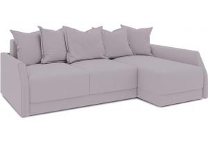 Диван угловой правый «Люксор Slim Т2» (Poseidon Pale Lavender (иск.замша) бледно-лавандовый)