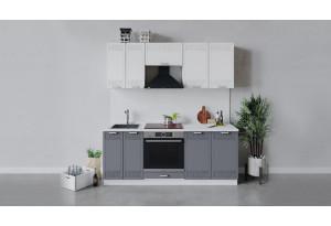Кухонный гарнитур «Долорес» длиной 200 см со шкафом НБ (Белый/Сноу/Титан)