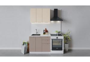 Кухонный гарнитур «Весна» длиной 100 см (Белый/Ваниль глянец/Кофе с молоком)
