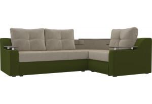 Угловой диван Тесей бежевый/зеленый (Микровельвет)