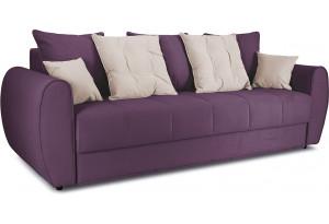 Диван «Бернард» Kolibri Violet (велюр) фиолетовый, подушка Kolibri Cream (велюр) кремовый