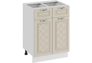 Шкаф напольный с двумя ящиками и двумя дверями «Бьянка» (Белый/Дуб ваниль)