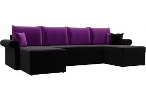П-образный диван Милфорд черный/фиолетовый (Микровельвет)