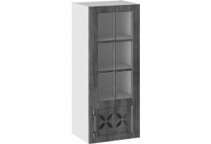 Шкаф навесной cо стеклом и декором (правый) (ПРОВАНС (Белый глянец/Санторини темный))