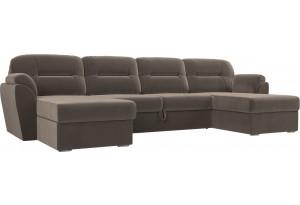 П-образный диван Бостон Коричневый (Велюр)