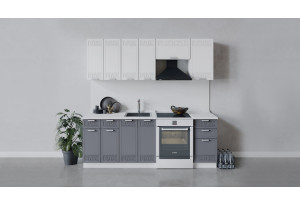 Кухонный гарнитур «Долорес» длиной 220 см (Белый/Сноу/Титан)