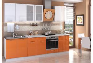 Кухня Ксения 2,8 м (модульная система), белый глянец/оранж