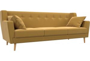 Прямой диван Брайтон 3 Желтый (Микровельвет)