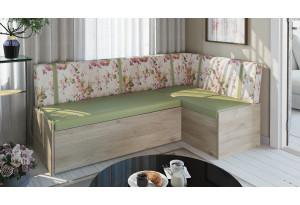 Скамья угловая со спальным местом «Париж» Баттл Рок/ Цветы зелёные