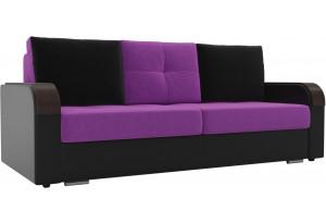 Прямой диван Мейсон Фиолетовый/Черный (Микровельвет/Экокожа)