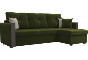 Угловой диван Валенсия Зеленый (Микровельвет)