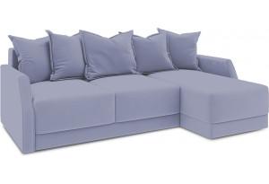 Диван угловой правый «Люксор Slim Т1» (Poseidon Blue Graphite (иск.замша) серо-фиолетовый)