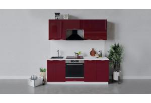 Кухонный гарнитур «Весна» длиной 200 см со шкафом НБ (Белый/Бордо глянец)