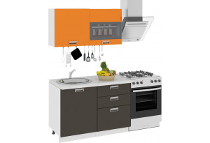 Кухонный гарнитур длиной - 180 см БЬЮТИ (Оранж)/(Грэй)