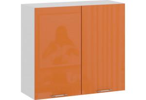 Шкаф навесной c двумя дверями «Весна» (Белый/Оранж глянец)
