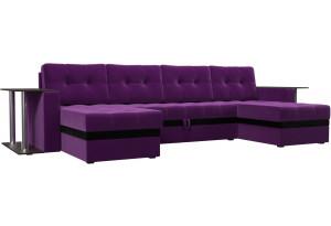 П-образный диван Атланта со столом Фиолетовый (Микровельвет)