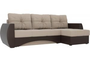 Угловой диван Сатурн бежевый/коричневый (Рогожка/Экокожа)