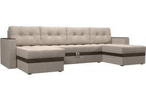 П-образный диван Атланта бежевый/коричневый (Рогожка)
