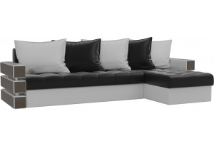 Угловой диван Венеция Черный/Белый (Экокожа)