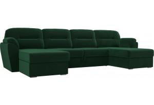 П-образный диван Бостон Зеленый (Велюр)