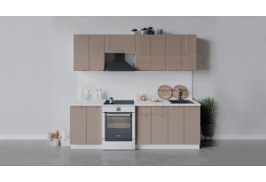 Кухонный гарнитур «Весна» длиной 240 см (Белый/Кофе с молоком)