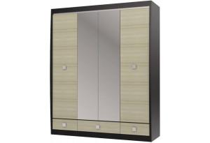 Шкаф с зеркалом 4-х дверный с 3-мя ящиками Ксено