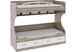 Двухъярусная кровать (без лестницы) «Прованс» Дуб Сонома трюфель/Крем