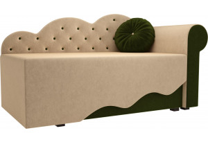 Детская кровать Тедди-1 бежевый/зеленый (Микровельвет)