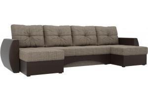 П-образный диван Сатурн коричневый/коричневый (Корфу/экокожа)