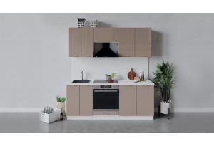 Кухонный гарнитур «Весна» длиной 200 см со шкафом НБ (Белый/Кофе с молоком)