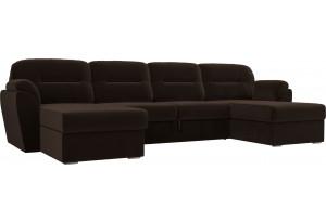 П-образный диван Бостон Коричневый (Микровельвет)