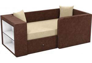 Детский диван Орнелла бежевый/коричневый (Микровельвет)