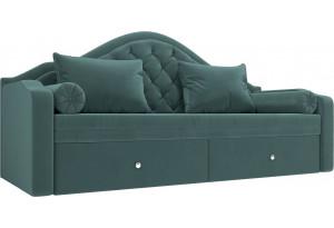 Прямой диван софа Сойер бирюзовый (Велюр)