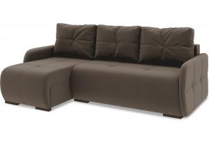Диван угловой левый «Томас Slim Т1» Beauty 04 (велюр) коричневый