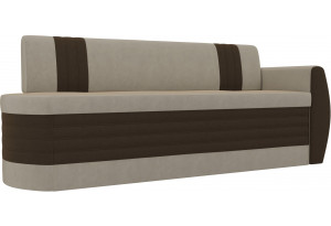 Кухонный прямой диван Токио О/Д бежевый/коричневый (Микровельвет)