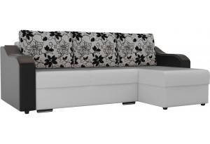 Угловой диван Монако Белый/Черный/Цветы (Экокожа/рогожка)