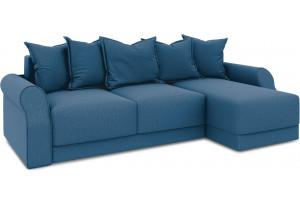 Диван угловой правый «Люксор Т1» Beauty 07 (велюр) синий