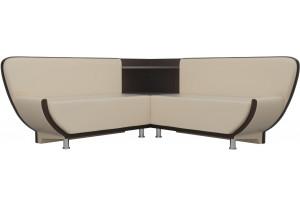 Кухонный угловой диван Лотос бежевый/коричневый (Экокожа)