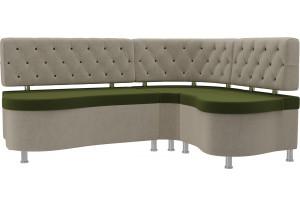 Кухонный угловой диван Вегас Зеленый/Бежевый (Микровельвет)