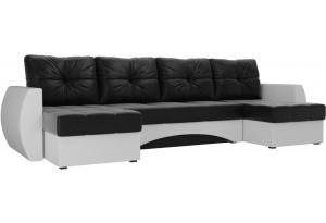 П-образный диван Сатурн Черный/Белый (Экокожа)