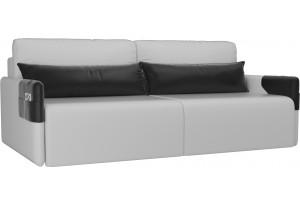 Прямой диван Армада Белый/Черный (Экокожа)